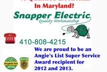 Snapper Electric Electrician Specialist / Snapper Electric is an electrical contractor for home improvements. We are licensed, insured, bonded, affordable and a member in good standing with Angie's List (Harford and Baltimore County, Maryland electricians.)
