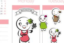 Erin Condren and Happy Planner Stickers drawn by me :)