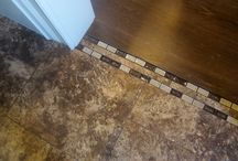 wood and tile floors