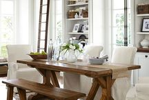 Dark wooden table with white