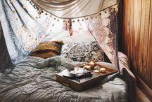 Boho Hygge grey bedroom