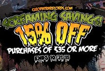 Halloween Screaming Savings! / Cleopatra Records Screaming Savings! 15% off purchases of $35 or more. Enter Promo Code TRICKORTREAT During Checkout. Ends 10/31/2015 http://cleopatrarecords.com/ / by Cleopatra Records