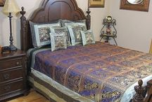 Gold Brocade Duvet and Bedding Sets / Elephants, Peacocks and Camels woven with gold thread and dupioni art silk into bedding and duvet sets from India