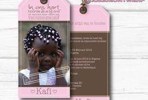 Aankomst kaarten, adoptiekaarten, arrival cards, adoption cards