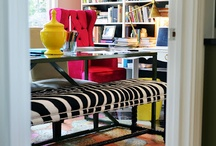 Office / Home office ideas. Design, storage, organization and bulletin boards. Lots of girly offices.