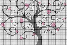 Stromy - križikové vyšívanie