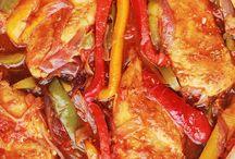Poulet poivrons oignons et tomates