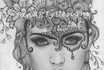 faces zentangle doodle