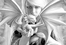 Fantasy grayscale coloring pages