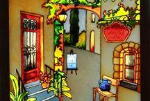 роспись по стеклу домики