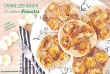 Caramelized Banana Buckwheat Pancakes / Recipe inspired on the epic pancakes from Samanta McMurrey from Eat Love, in a vegan version...Delicious! Vegan, gluten-free, sugar-free, oil-free.