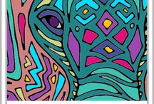 colouring art and prints / Colouring therapy or just for fun. Drawings to colour and coloured art.