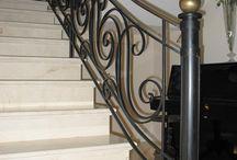Treppengeländer, Geländer, Schmiedegeländer, Metall, Stahl, Messing / Handgeschmiedte Geländer aus Stahl und Messing