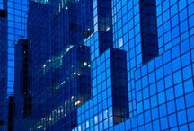 Blue in architecture / Buildings, facades, interiors