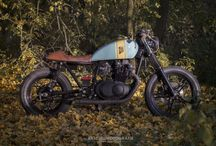 Suzuki GS450 Cafe Racer / This is the Wrench Kings Suzuki GS450L owned by Rens. This photoshoot takes place in the Dutch autumn forest oposite the King's International Head Quarters in Utrecht.  Pictures by Bas Duijs Photography. For more info on his work visit www.basduijs.com
