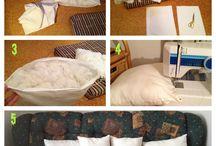 diy throw pillows / Upcycling our old pillows to throw pillows!