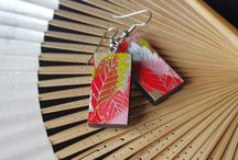 My wooden jewellery with Japanese paper