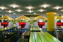 CAFE Spaces / Office cafe work kitchen, office space, large island tables, office kitchen design, interior design, creative