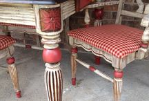 Red and white furniture chalk