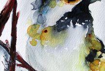 Watercolor birds, chicken and hen