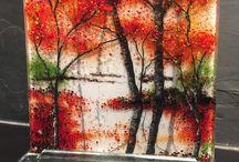 Aspen fused glass plate fall scene