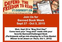 "Banned Books Week 2015 / Banned Books Week brings about awareness that books are constantly being challenged & even banned from certain schools, churches, etc.  Come in Wed, Sept 30, to have your ""mug shot"" taken holding your favorite banned/challenged book!  Help us ""Defend the Freedom to Read!"" / by Foley Public Library"