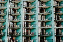 Balconies in facade