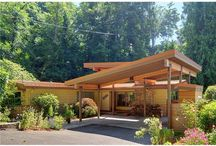 Mid-century homes architecture / exterior and interior mid century design