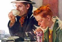 Coffee tea and cups