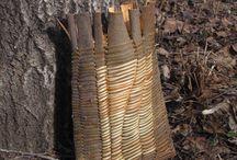 Bark basketry, my own work  Omia kuoritöitä / Willow bark and birch bark work Pajunkuori- ja tuohitöitä