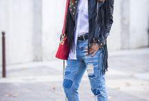 Streetstyle, fringe, veste à franges, blouson en cuir à franges, chemise blanche