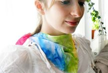 Silk scarves hand painted