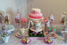 Garden tea party candy buffet / Garden Tea Party Candy Buffet with Glitter cake pops, cupcakes, french macarons and of course candy