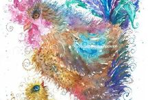 Chicken Art / Chicken / rooster / chick painting watercolour and pen By Sophie Appleton. Art for sale £13.95 each, post worldwide . On the 'Art 4 SALE' page of www.sixfootsophie.co.uk