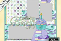 Birthday Beauty 1 Quick Page Digital Scrapbooking Collection by Kathryn Estry / In girly colors, this birthday collection is just right for your little girl's birthday photos. Generic elements and papers are also included so that this collection will work for other photos as well.