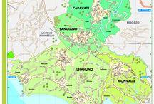 CARAVATE, SANGIANO, LEGGIUNO e MONVALLE / La piantina della zona che comprende i quattro comuni: Caravate, Sangiano, Leggiuno e Monvalle
