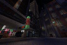 Minecraft cyberpunk cityscape / Some screens of Deneb Drei a Minecraft cyberpunk city on Armaghast server. A taste of Blade Runner...