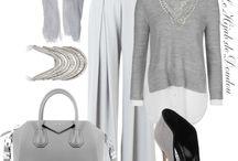 Fashion Hijab: White and grey