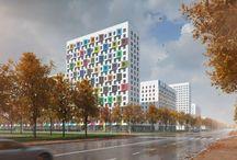 """ЖК """"Грин Парк"""" / Архитекторы: Проектное бюро «Апекс» и buromoscow/ ГК ПИК/  150 000 руб. - 1м2/ пластическое решение - штукатурка фасада цветом, рельфная поверхность"""