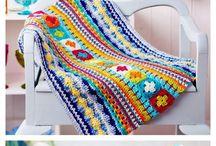 manta em crochê bem colorida