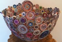 My creations / I am an artist, I paint and I create 2 and 3D assembled sculptures. My work is done primarily with recycled paper that I coil into beautiful colorful circles and I apply them to my sculptures or incorporate in most of my paintings