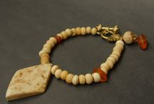 Amber & carved bone bracelet