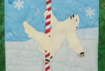 Pole Dancer / Pole Dancer - Original art work by Will Bullas. Quilt by Nan Baker of Purrfect Spots featured as a BOM in The Quilt Pattern Magazine - Feb/Nov 2013 www.quiltpatternm... Polar bear having a great time on candy cane pole!
