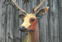 Animal heads paper mache