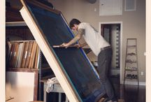 Wanna try that! / Huge manual screen printing