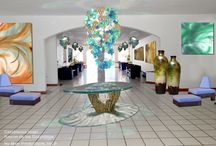 Hotel Casablanca Rincon de los Guayabitos / Concept for remodel to Mexican hotel. Lighting to art to furniture and pottery.
