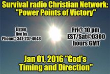 """2016 """"Power Points of Victory"""" on Survival Radio Christian Network (Podcasts) / Podcasts of Dr. Richard Gladiator Johnson on the Survival Radio Christian Network (broadcast live Friday nights 10pm Eastern/Sat @ 0200 GMT Summer/0300 GMT Winter). Listen live by phone @347-237-4648 / by Jedi Knight Improvements,Inc"""