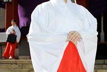 巫女 Miko / Miko (巫女) is a Japanese Shinto term indicating a shrine (jinja) maiden or a supplementary priestess who was once likely seen as a shaman but in modern Japanese culture is understood to be an institutionalized role in daily shrine life, trained to perform tasks, ranging from sacred cleansing to performing the Kagura, a sacred dance.