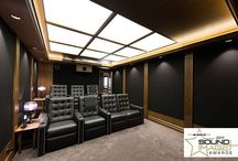 The Illuminati / Home theatre and foyer in Sydney NSW Australia designed by Wavetrain Cinemas. Seating by Fortress Seating.