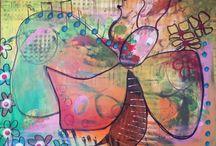 Farveladen / Tre ind over er konceptet bag faveladen. Vi maler på samme bilede og færdiggør billedet individuelt. Vi har det rigtigt sjovt, når vi maler .0) Three in over the picture is the concept behind FarveLaden. We paint on the same painting all three of us and we have a lot of fun when doing it :0)